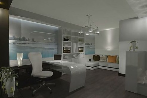 Функциональный домашний кабинет в стиле хай-тек