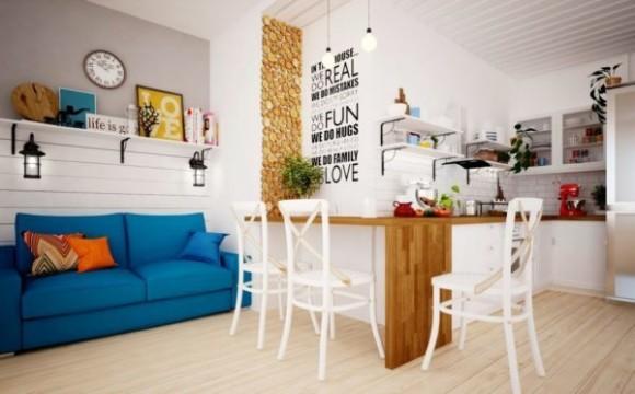 Квартира в скандинавском стиле белый основной цвет служит фоном для ярких элементов