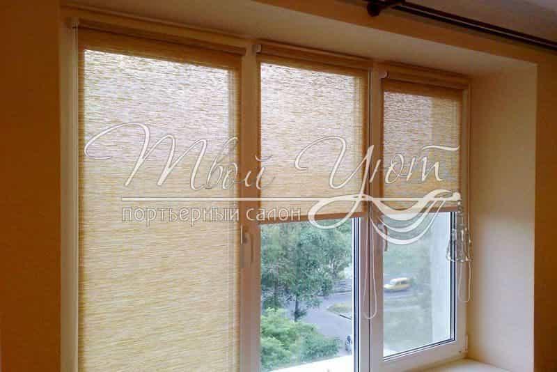 Рулонные шторы открытого типа на окне