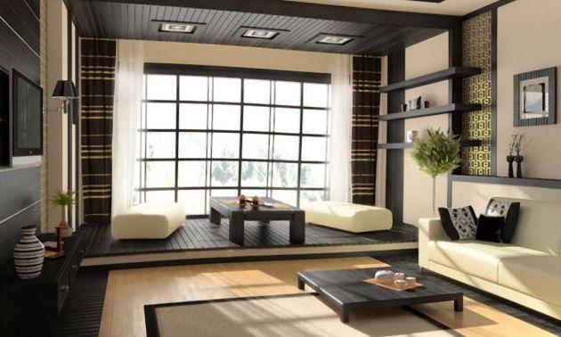 Окно гостиной оформлено японскими панелями