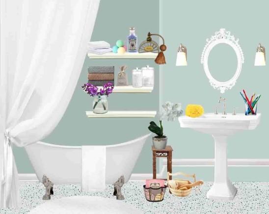 Тканевая штора в ванной комнате