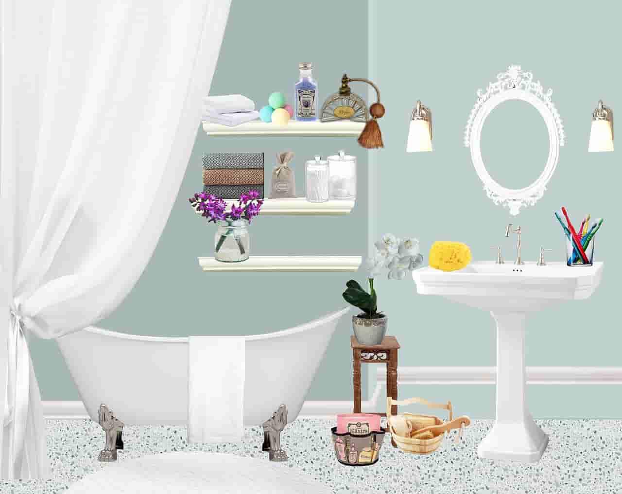 Тканевая штора для ванной