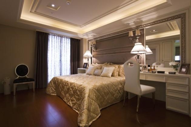 Спальня оформлена в стиле барокко